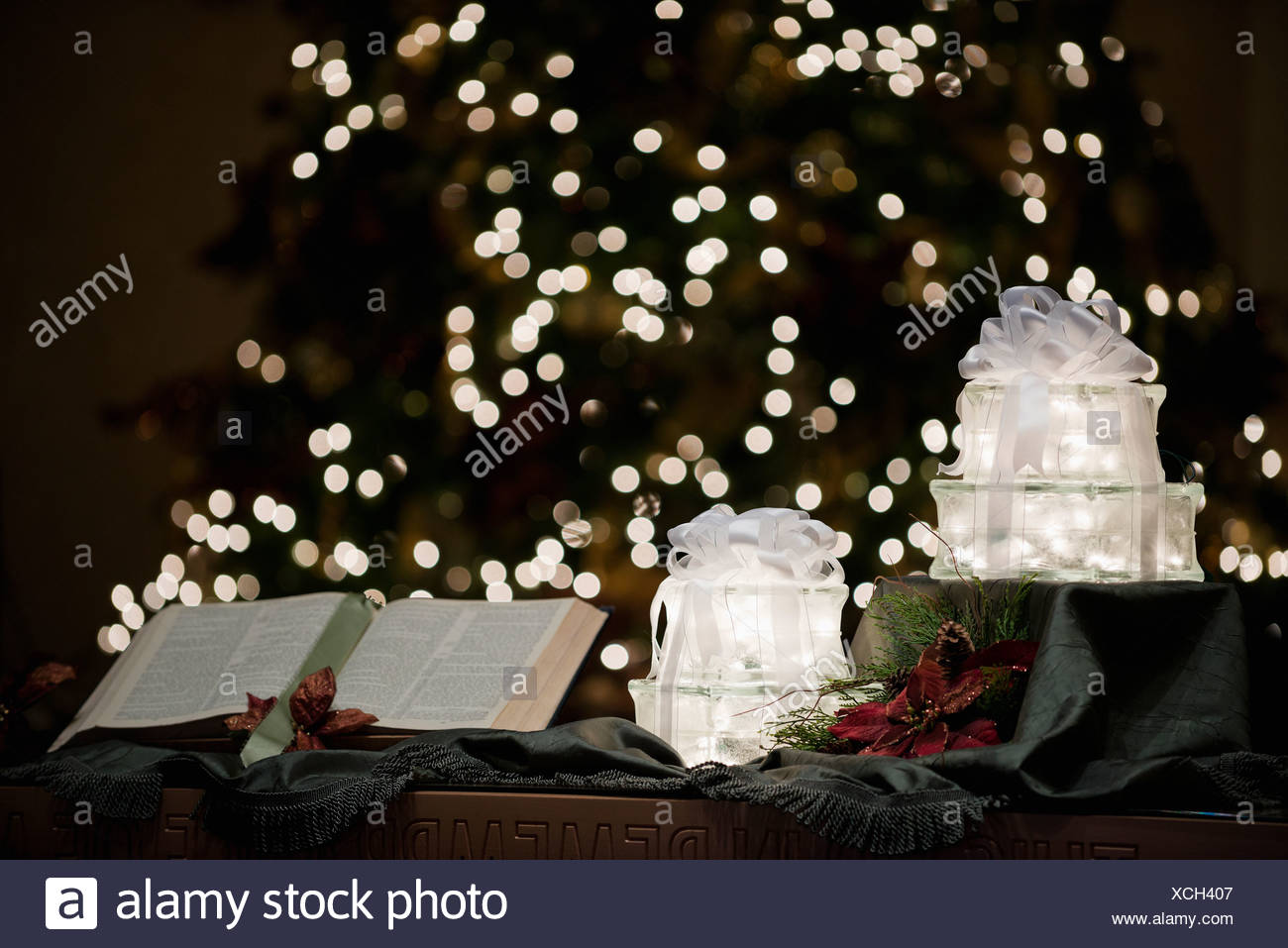 bible and a christmas tree canada