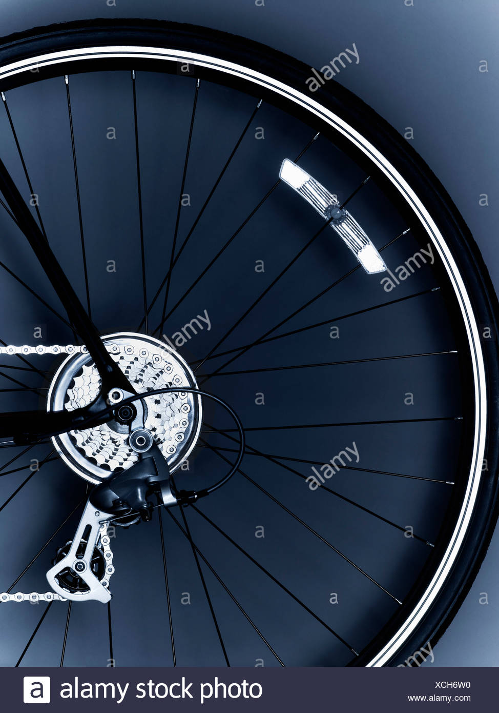 bicycle,bicycle gear,bicycle tire,chain,close up,cog,color image,detail,gear,no people,photography,spoke,studio - Stock Image
