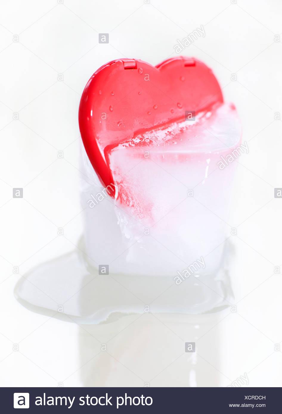 Frozen heart  conceptual image - Stock Image
