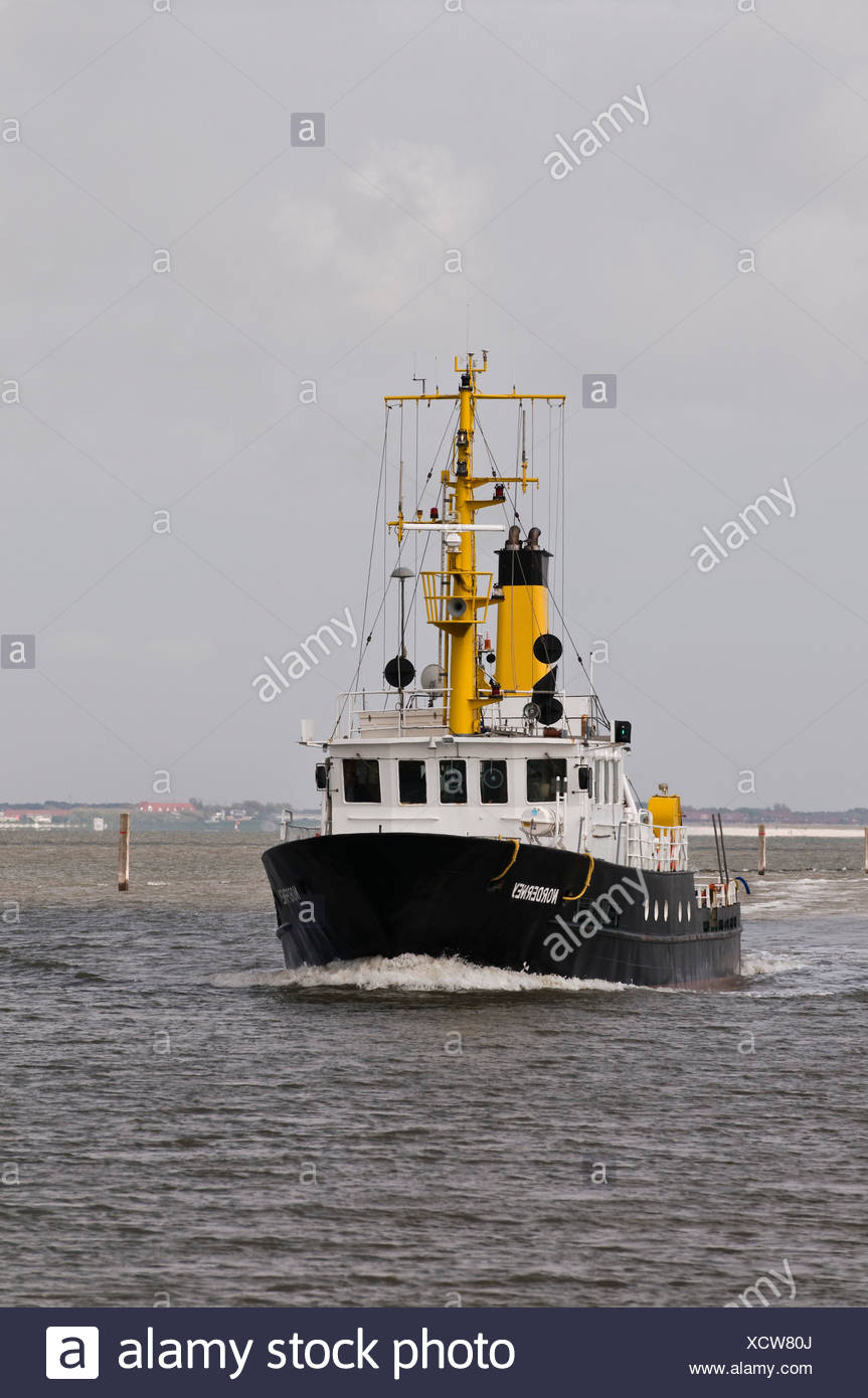 Special survey ship 'Norderney', for waterway soundings and surveys in the tidal area, North Frisia, Norddeich, Wadden Sea - Stock Image