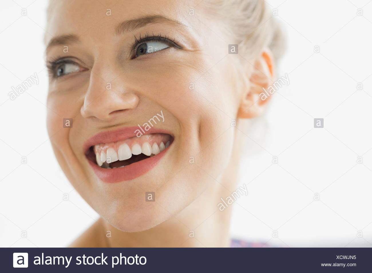 Close-up portrait of beautiful woman - Stock Image