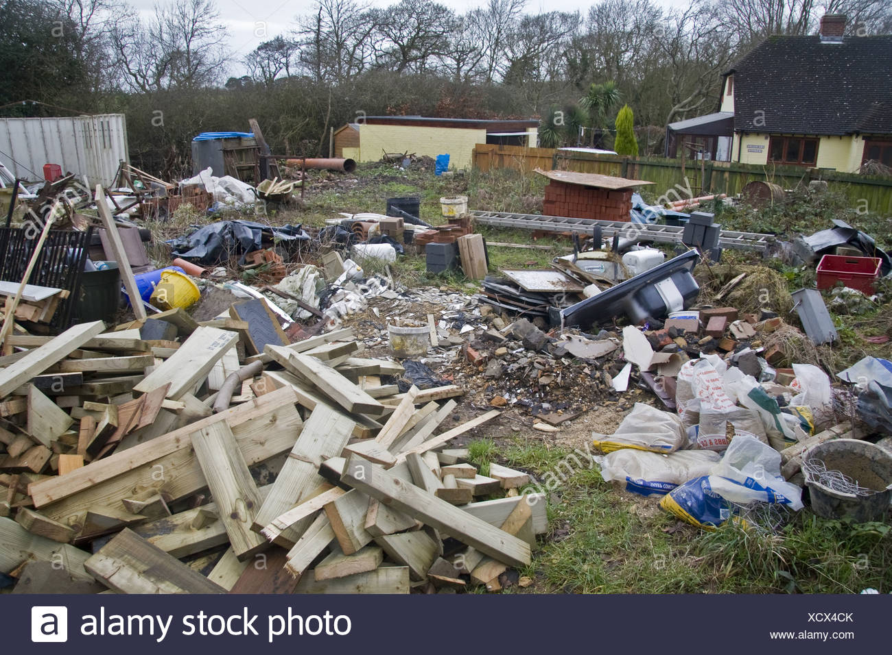 Chaos Untidy Disorganised Mess Lazy Garden Backyard Junk Rubbish Builders  Milford On Sea Hampshire England UK