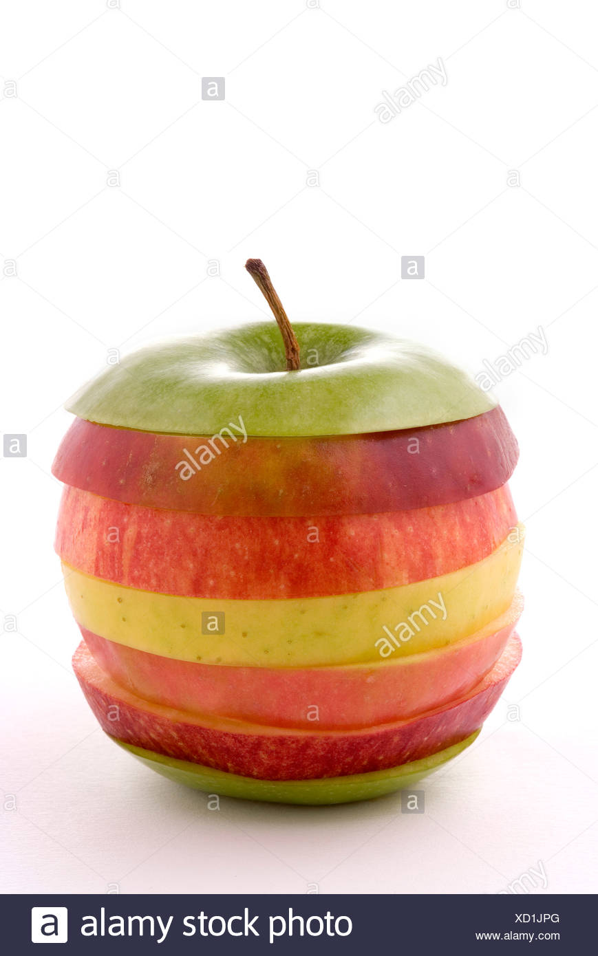 Slices of different apples forming an apple - Stock Image