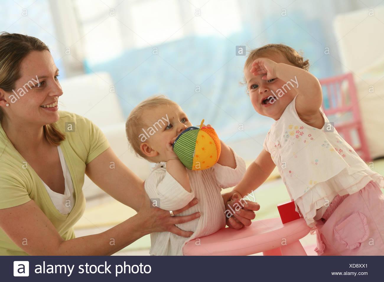 Babies 9 Months Mother Ball Play Get Up Ball Dressed Blond