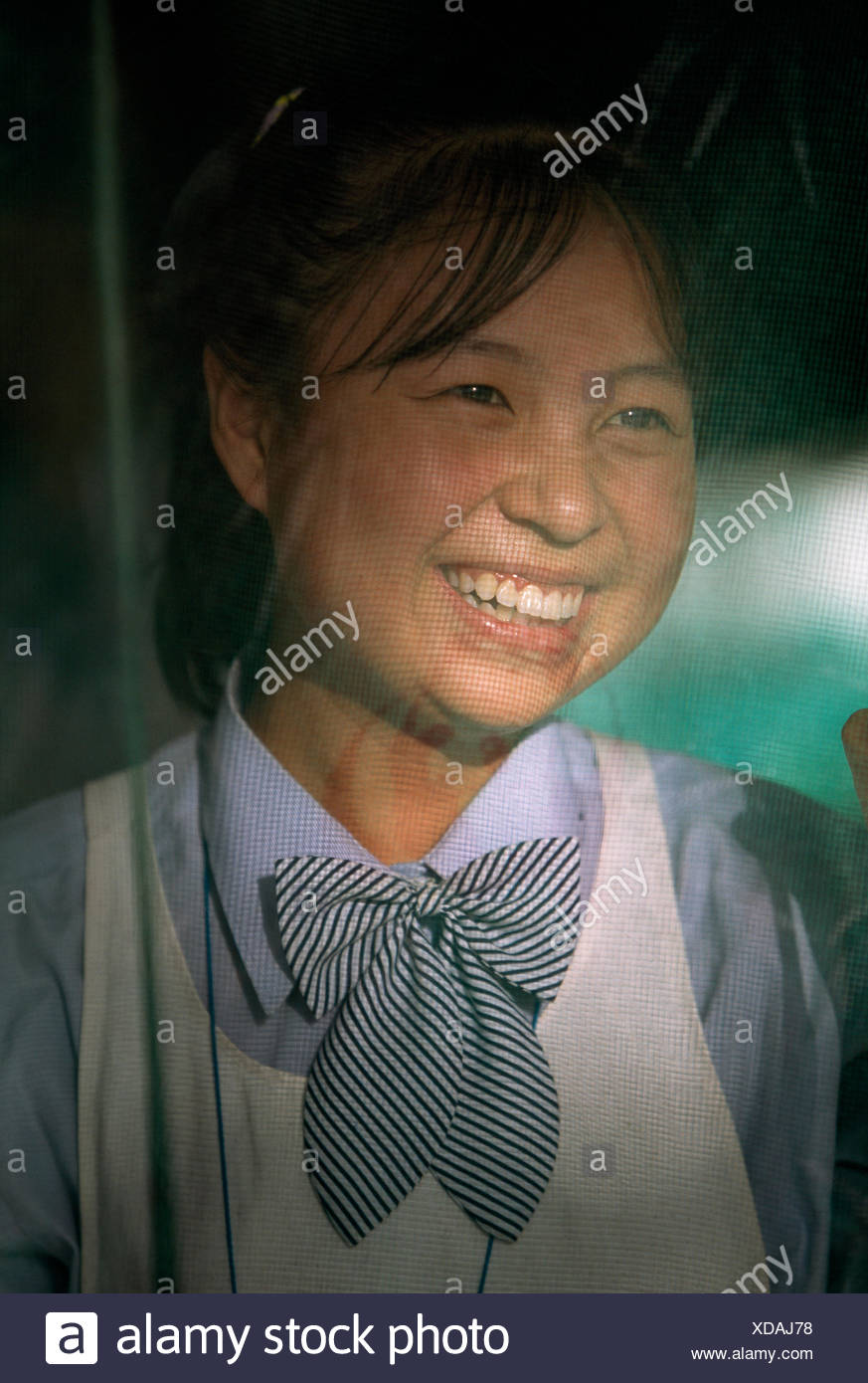 A wife at home looks through the screened front door of her house. - Stock Image