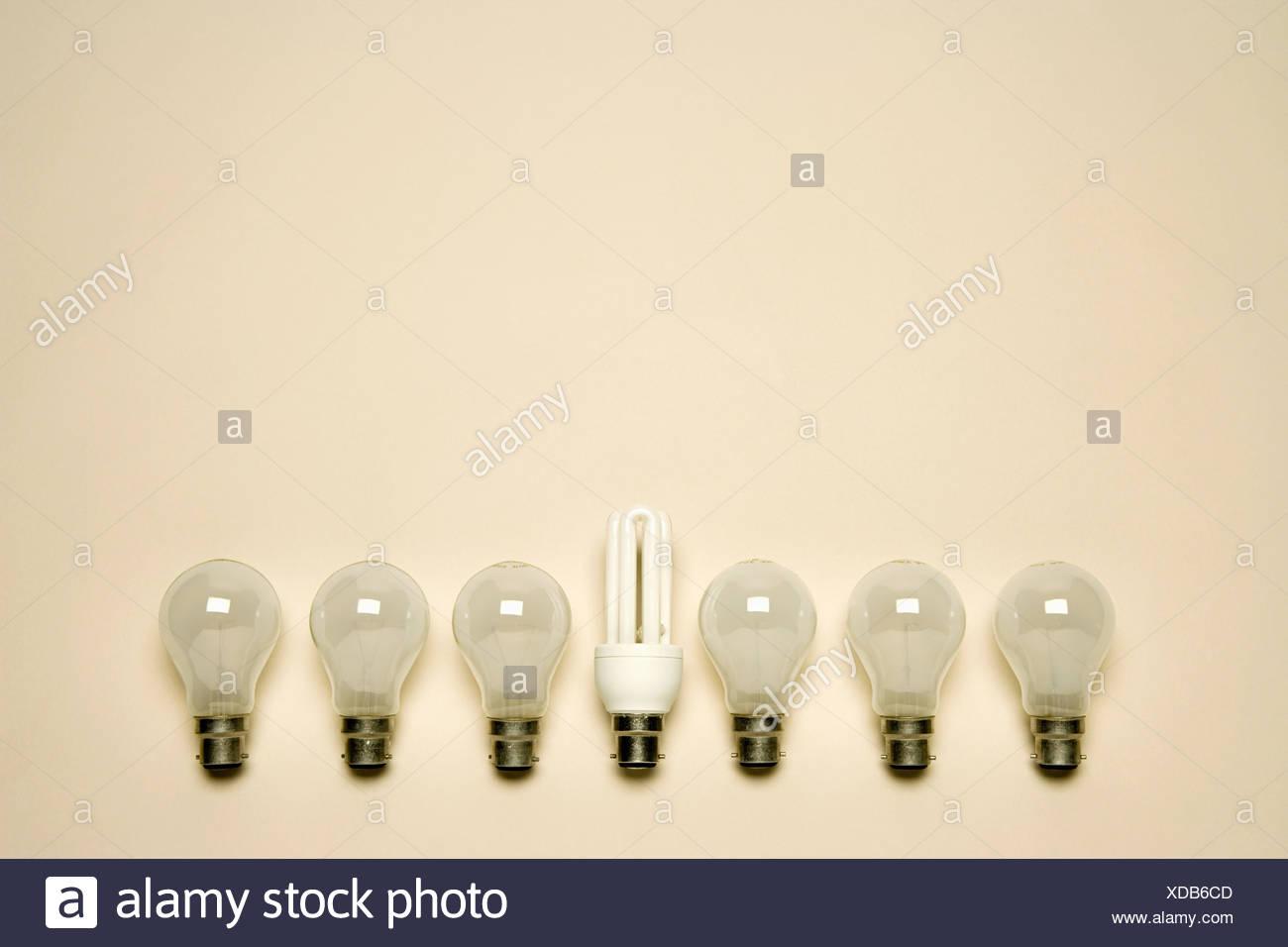 Lightbulbs in a row - Stock Image