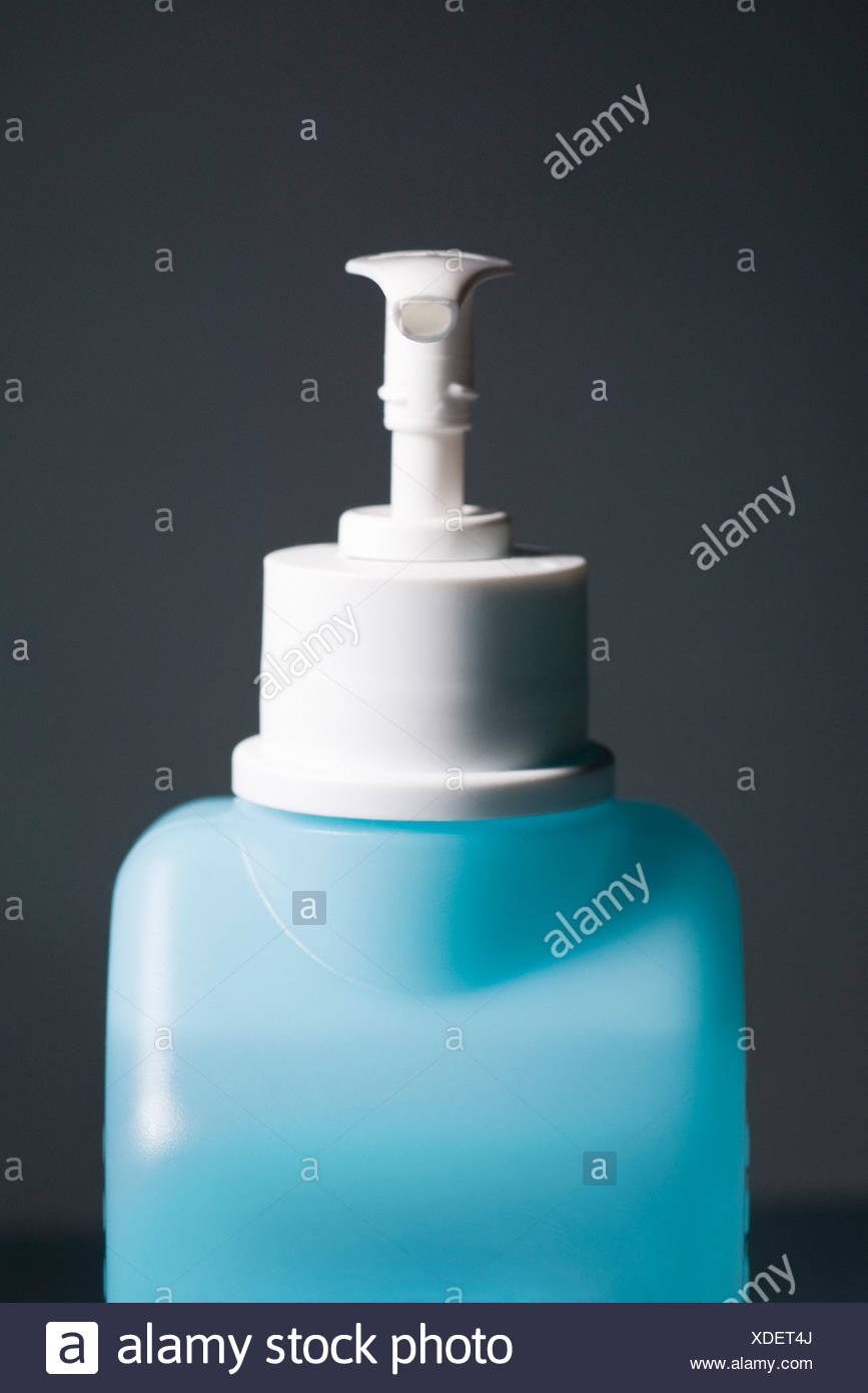 Hand sanitizer in pump bottle - Stock Image