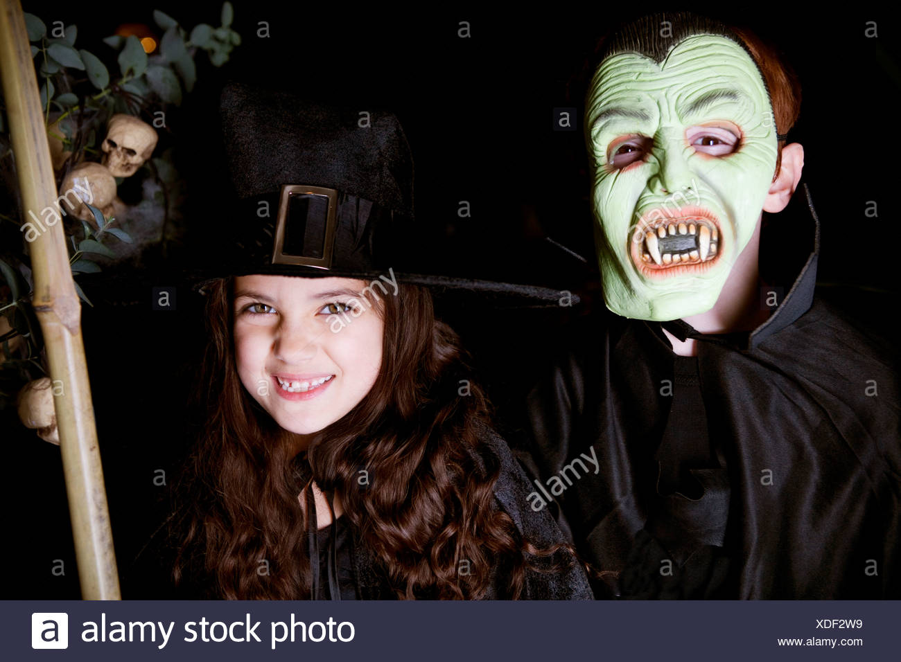 children in scary halloween costumes stock photo: 283687973 - alamy