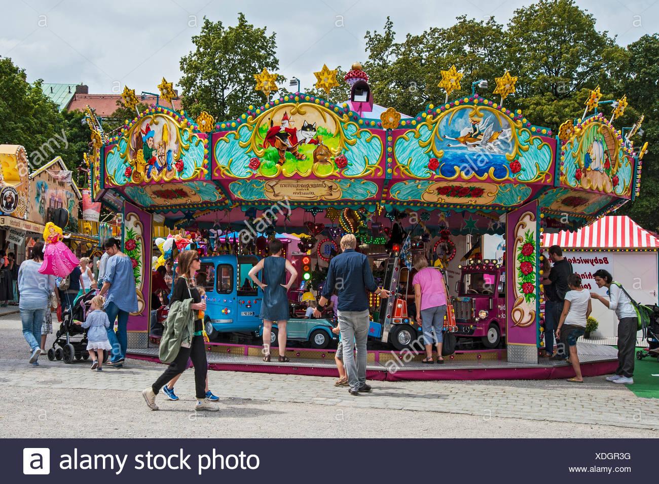 Nostalgic children's carousel, Auer Dult, Munich, Upper Bavaria, Bavaria, Germany - Stock Image