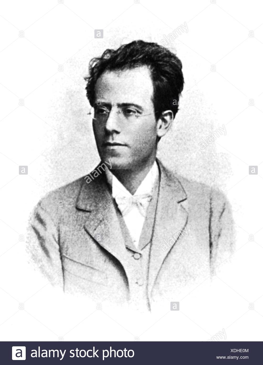 grinder, Gustavus, 7.7.1860 - 18. 5.1911, Austrian composer, conductor, portrait, eyeglasses, bow tie, bow ties, male, man, - Stock Image