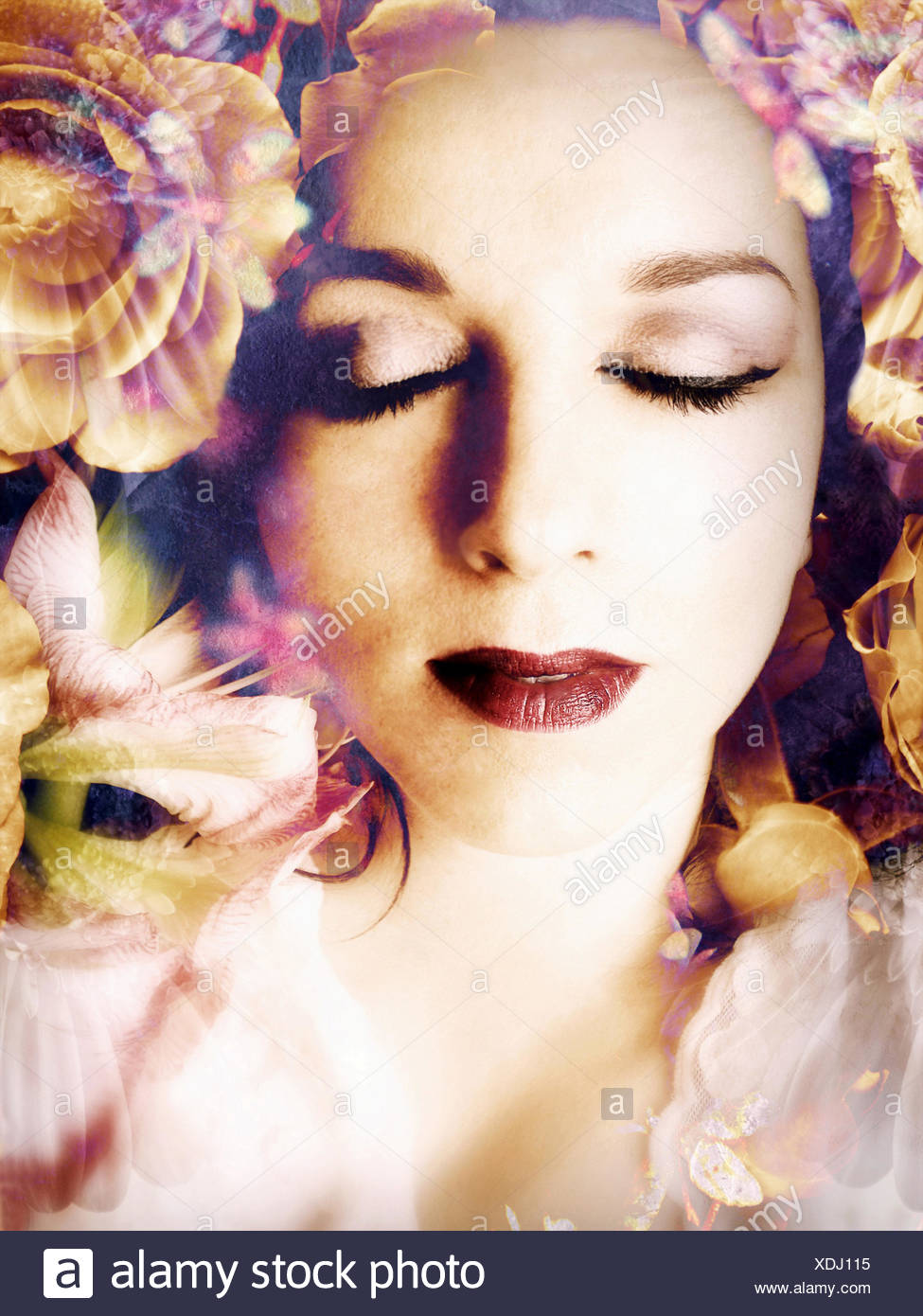 poetic montage of a portrait with flowers, - Stock Image