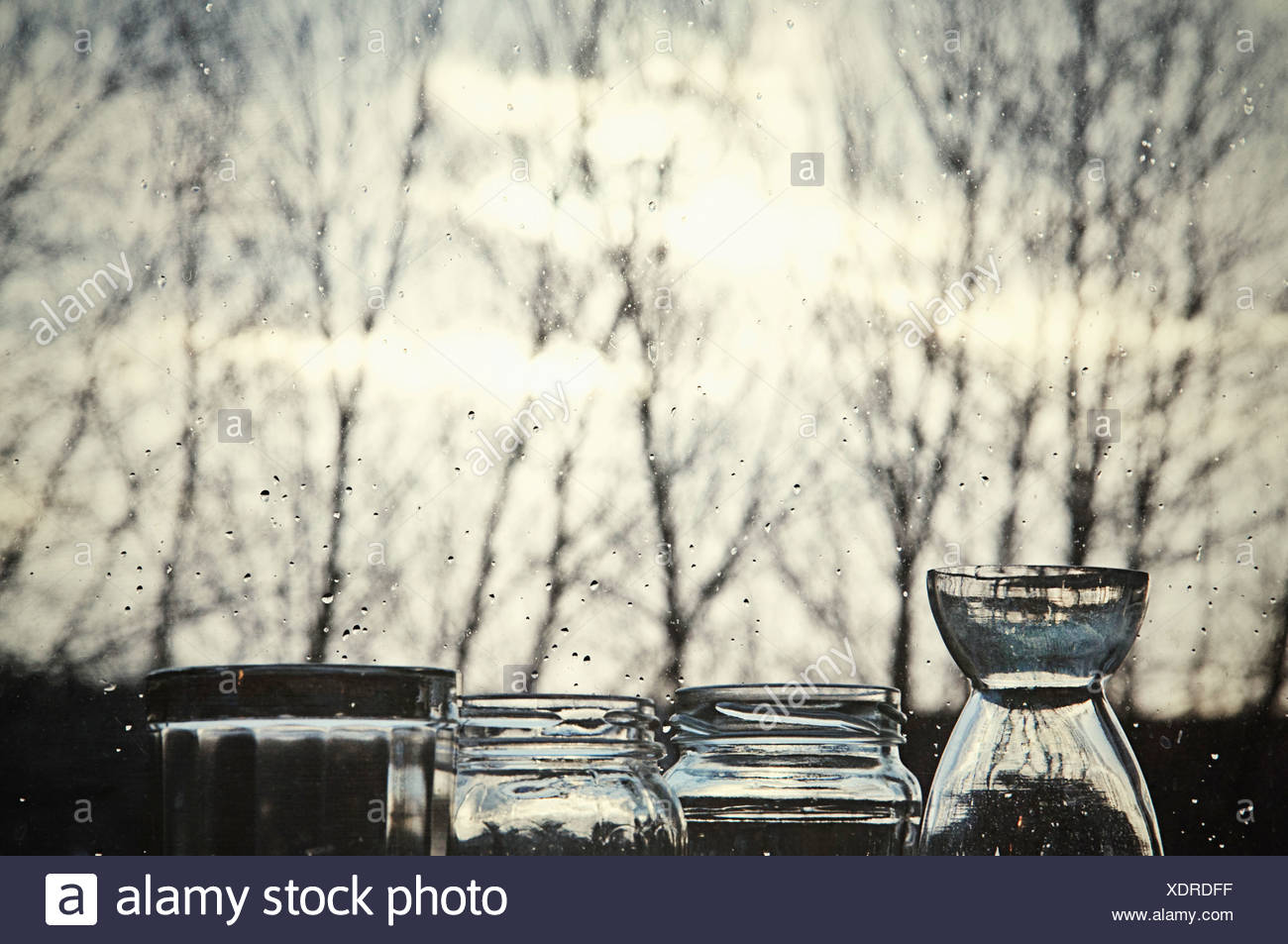 Objects outdoors in dawn - Stock Image