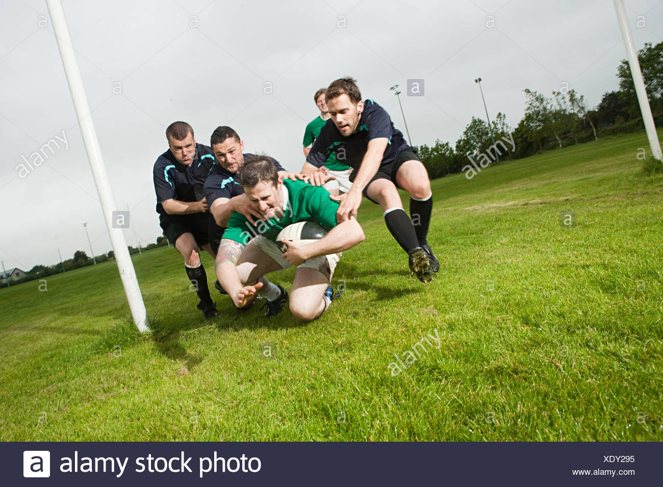 Rugby game in action - Stock Image