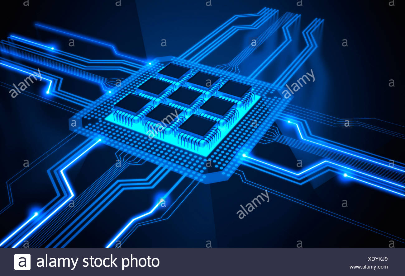Microchip, artwork - Stock Image