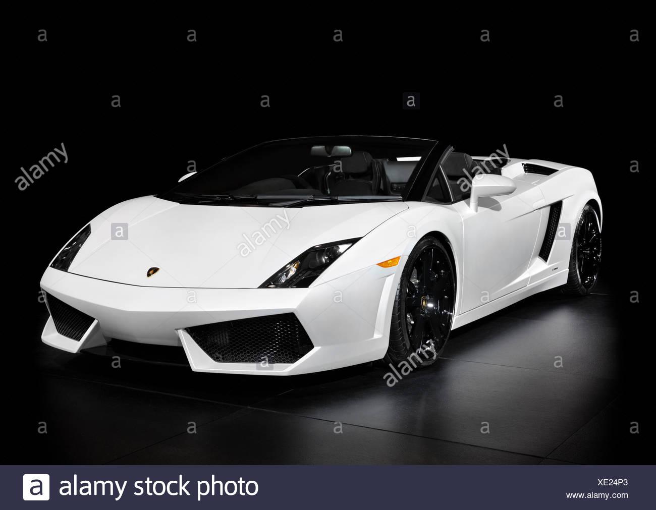 White Lamborghini Gallardo Lp560 4 Spyder Super Car Isolated On