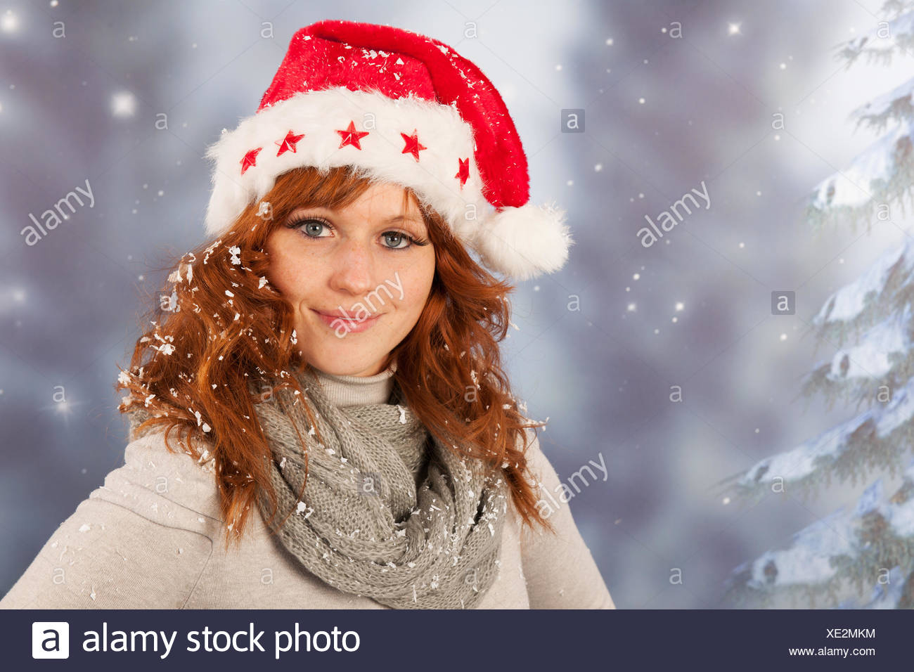 6143aa6029f63 Winter woman with hat Santa Claus Stock Photo  284031208 - Alamy