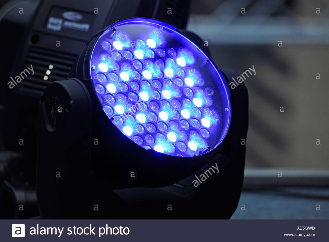 Event lighting, laser light, blue lights - Stock Image