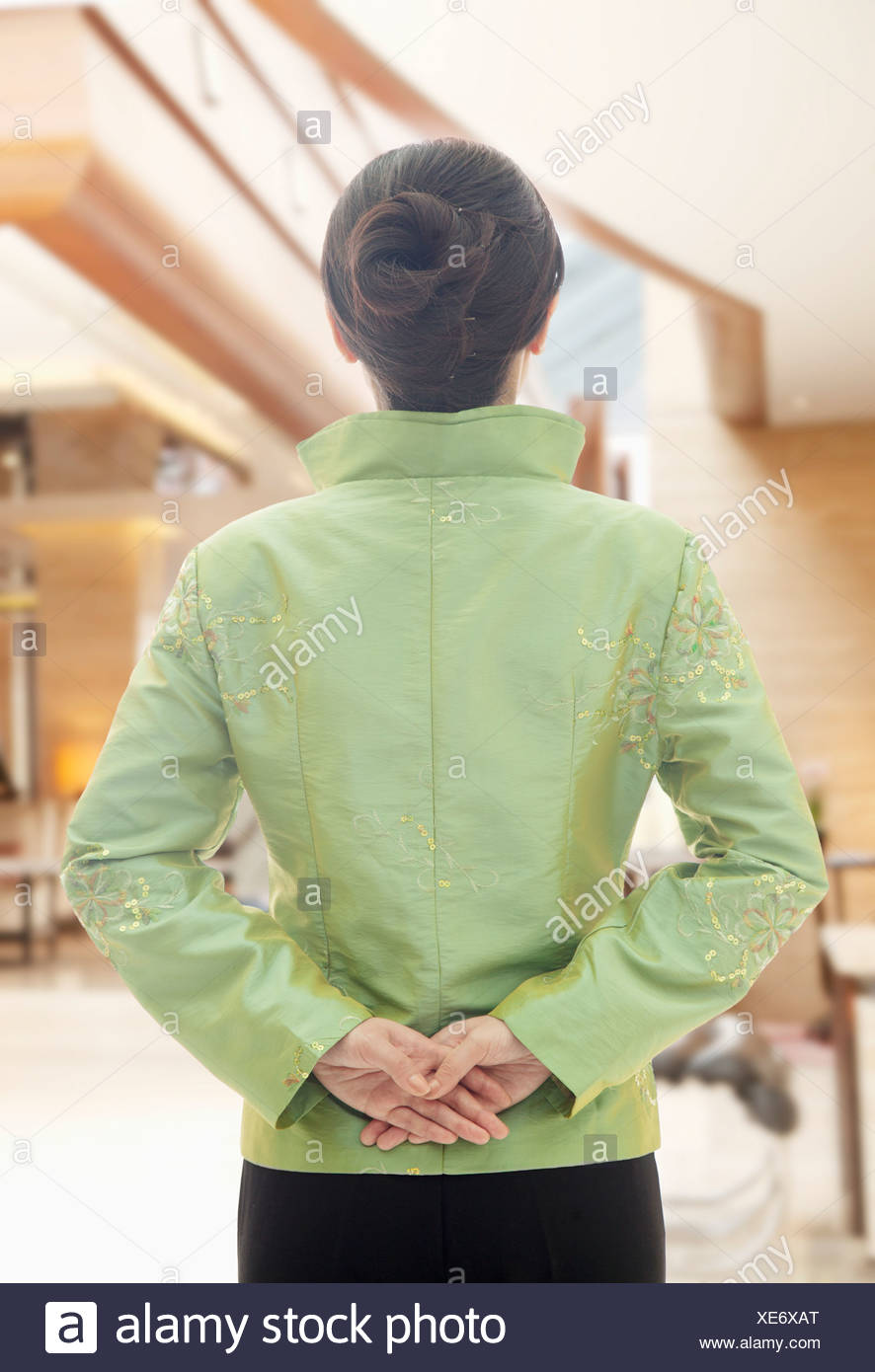 Restaurant Hotel Hostess in Traditional Chinese Clothing 2f6e7fcf3