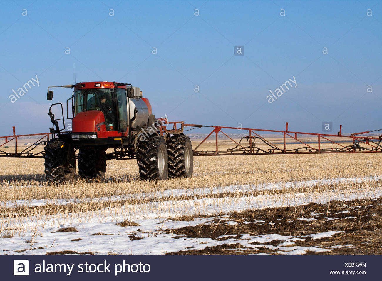 Agriculture - A Case IH Patriot sprayer applies fertilizer to a snow covered field of grain stubble in Spring / Alberta, Canada. - Stock Image