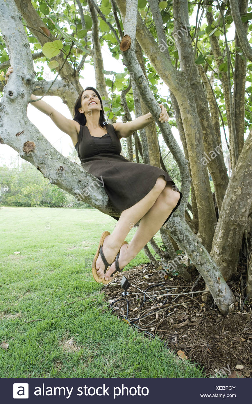 bd9c69323c23a1 Woman sitting in tree