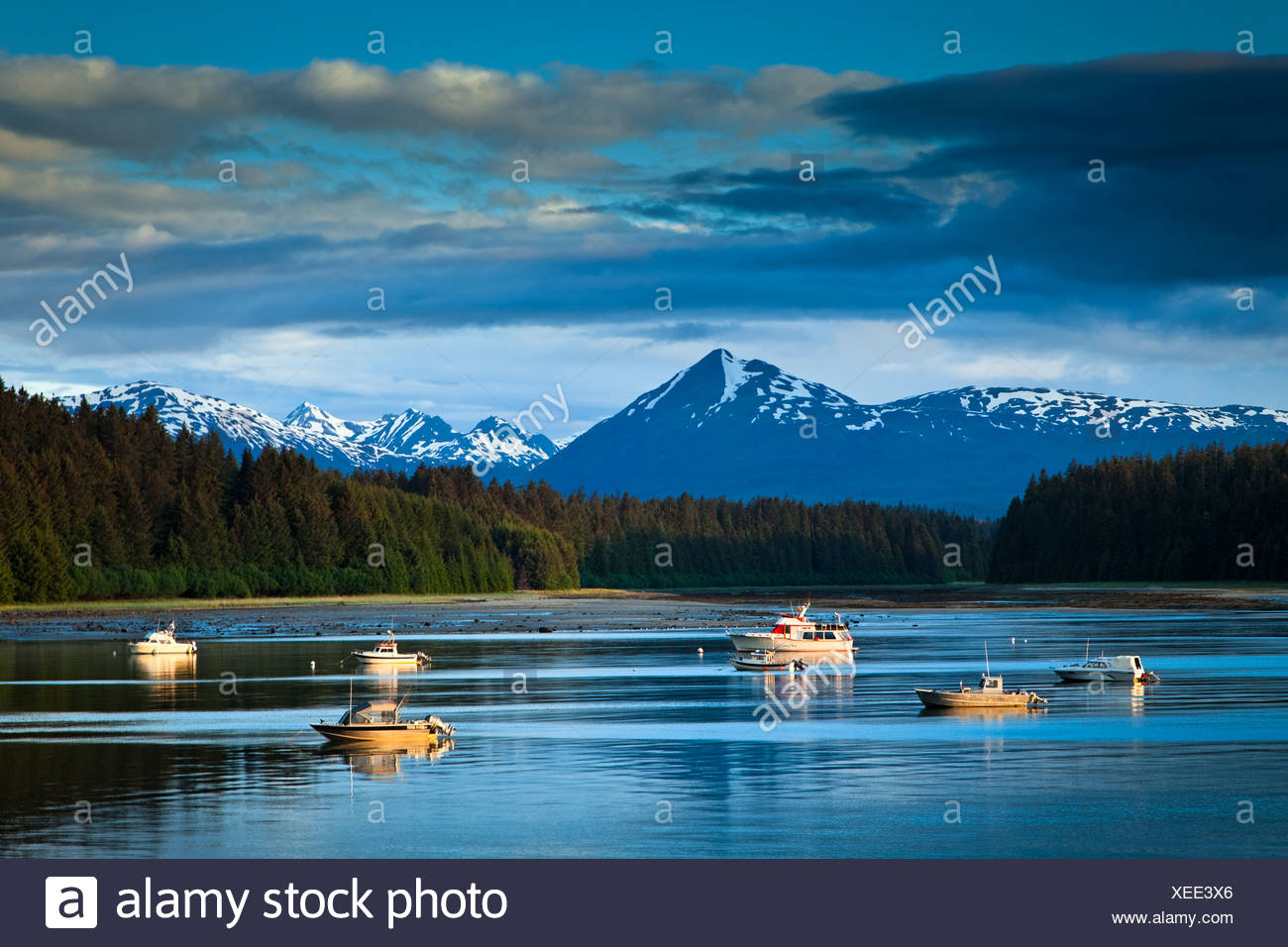 Scenic evening view of Bartlett Cove and moored fishing boats, Glacier Bay National Park & Preserve, Southeast Alaska, Summer - Stock Image
