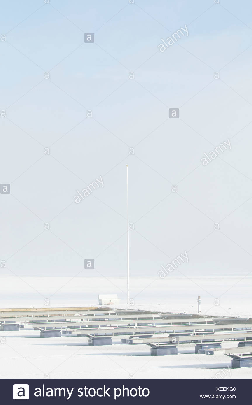 Snow-covered quay - Stock Image