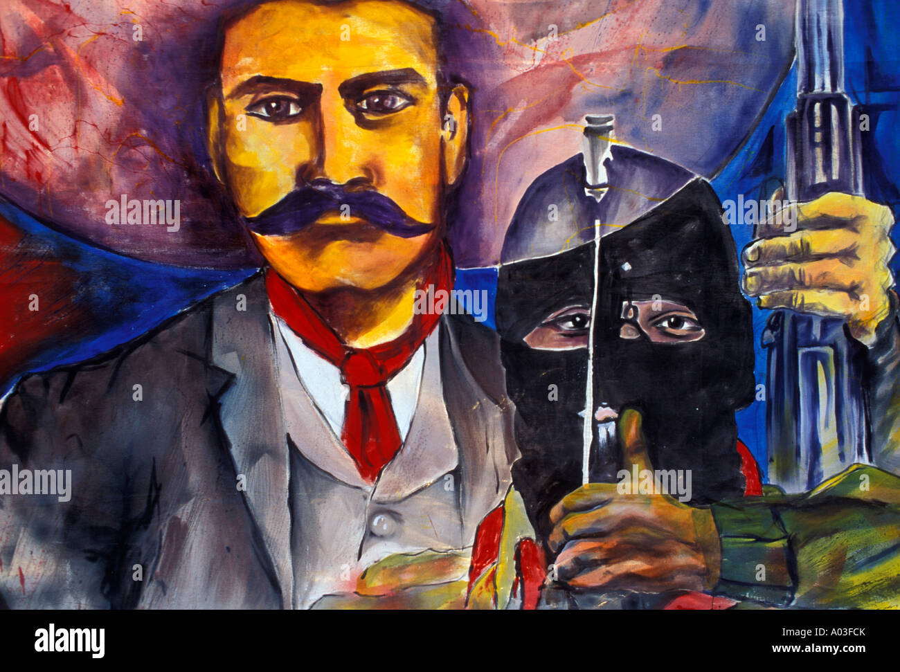 Stock image of a mexican mural with emiliano zapata and for Mural zapatista