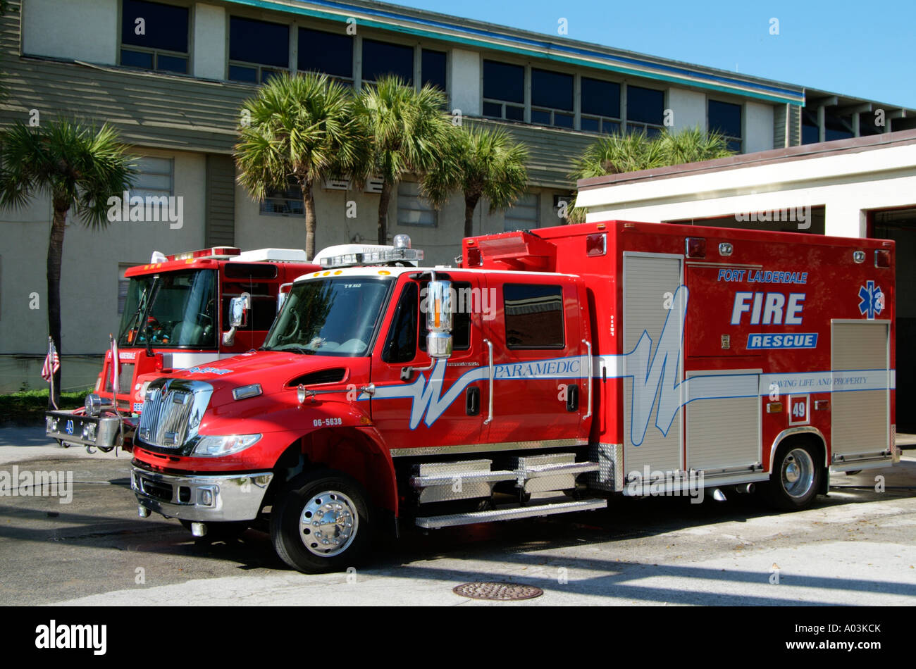 Red Fire Rescue And Paramedic Truck Fort Lauderdale