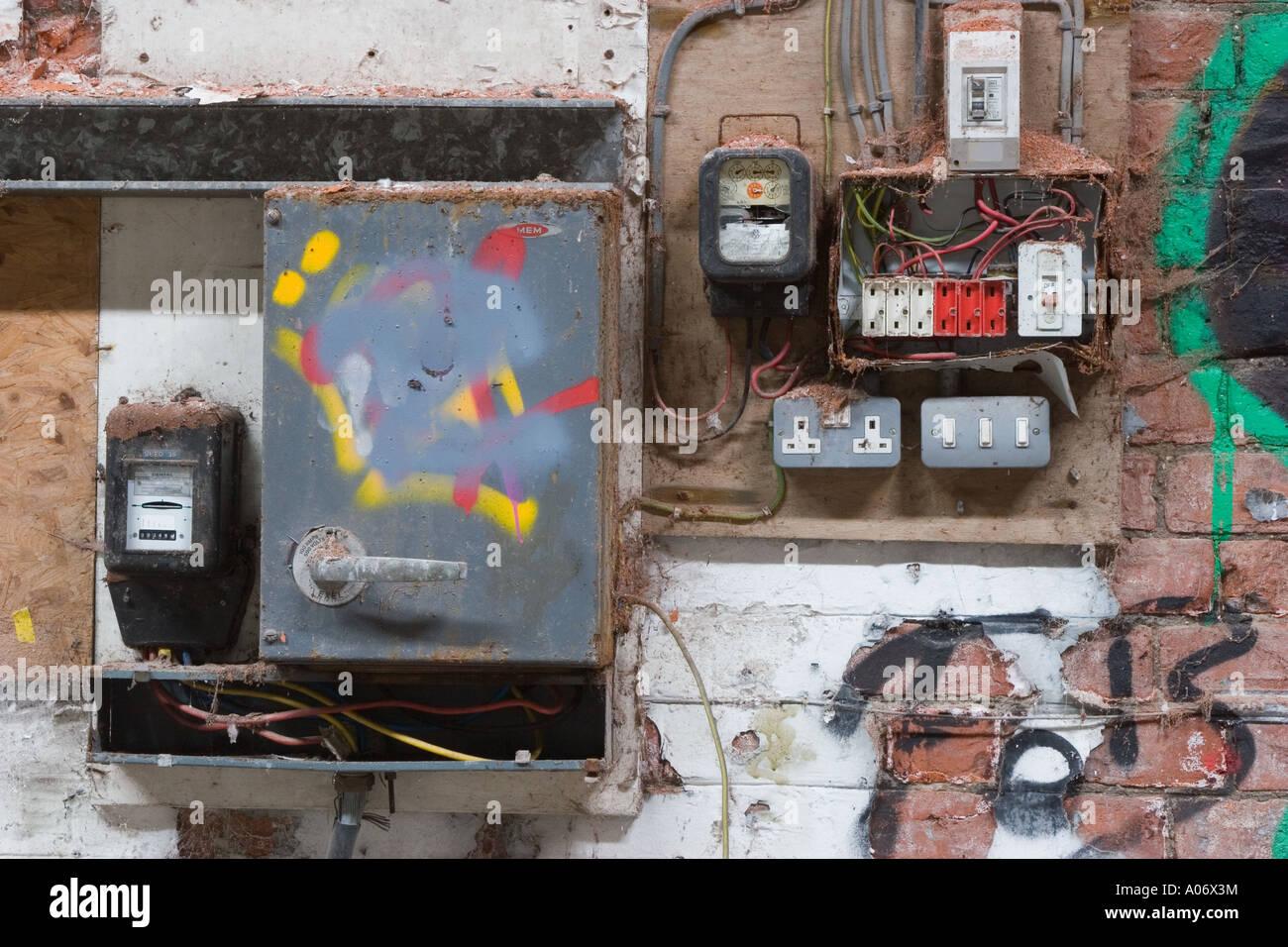old electrical installation fuse board and distribution. Black Bedroom Furniture Sets. Home Design Ideas