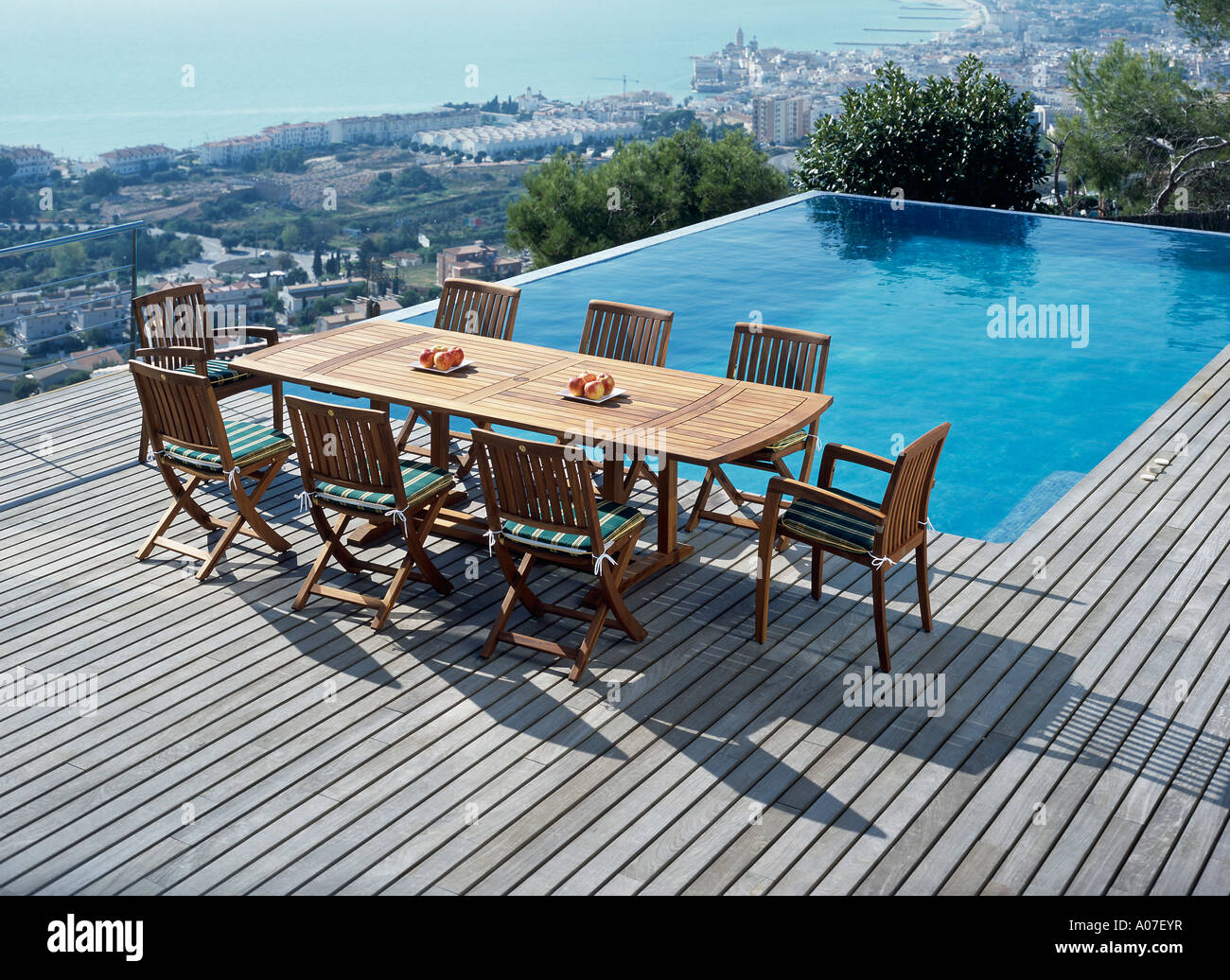 View Of A Dining Table Beside A Clear Swimming Pool Stock Photo Royalty Free Image 9905386 Alamy