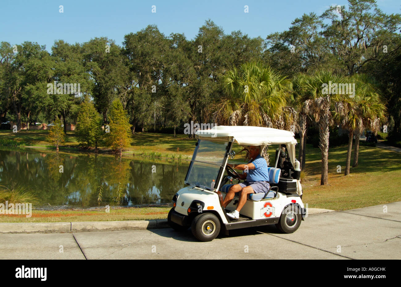 Club cart golf cart motoring through florida america Usa countryside pictures
