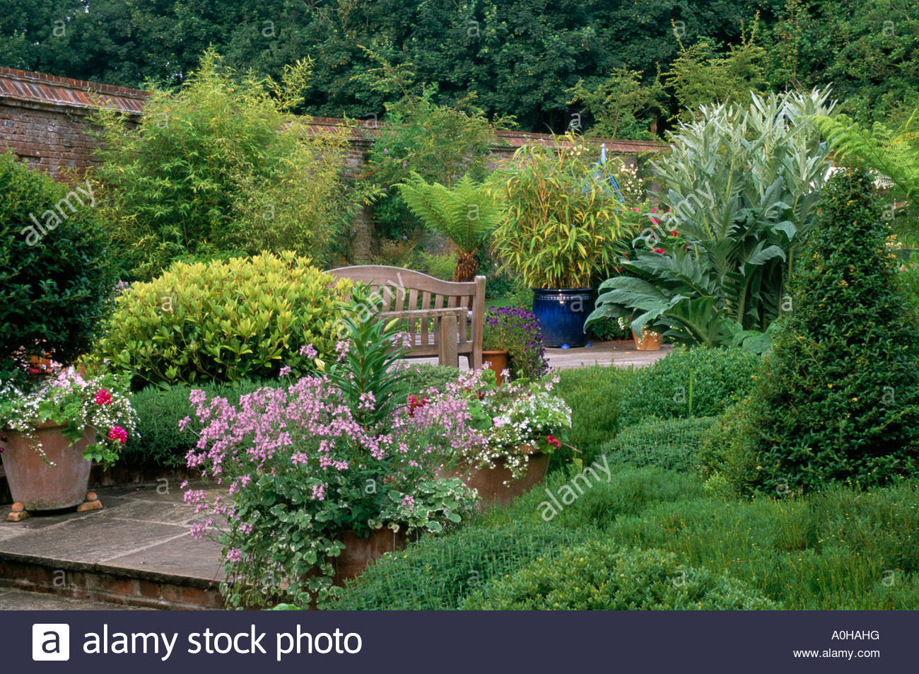 Hampshire Design Pamela Woods Raised Patio In Walled Garden With Stock Photo Royalty Free Image ...