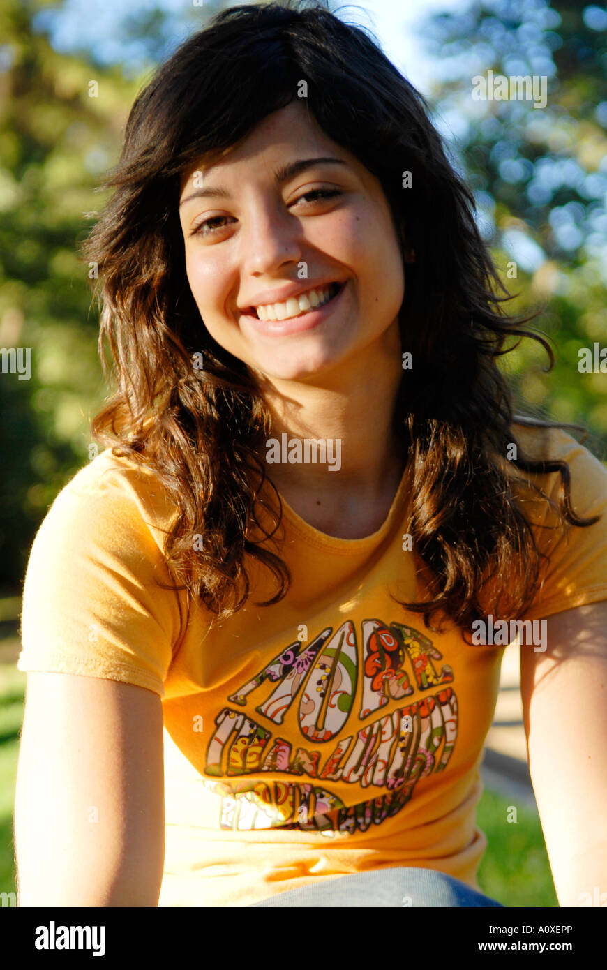 Portrait Of A Cute Spanish Teenager Stock Photo, Royalty
