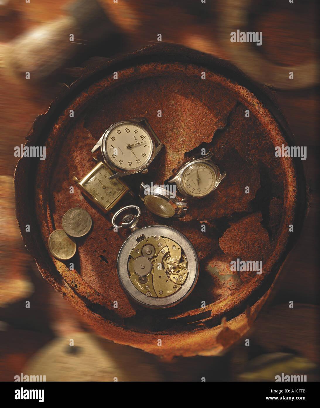 still life of broken watches time flies Stock Photo