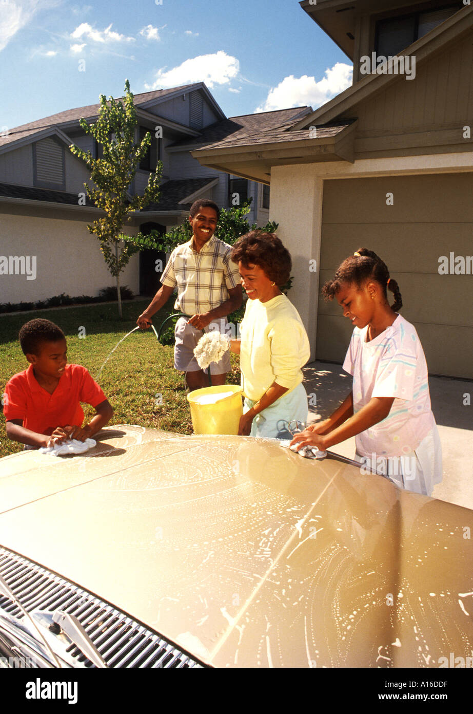 black african american family washing the car together stock photo 93663 alamy. Black Bedroom Furniture Sets. Home Design Ideas