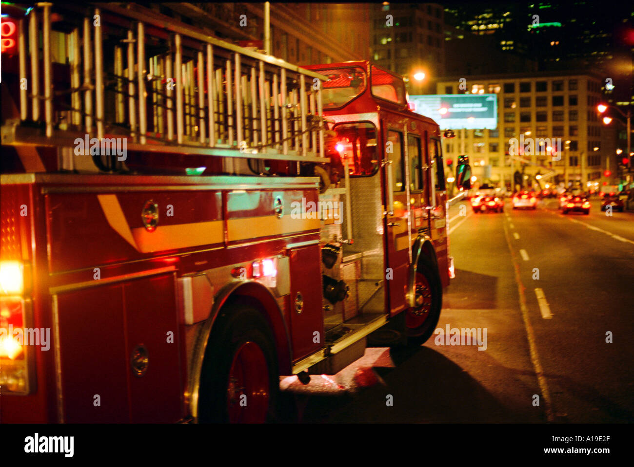 A fire truck parked on a street in downtown seattle for 7 salon downtown seattle