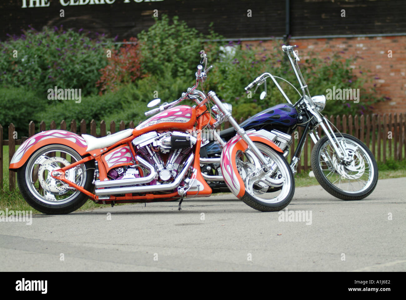 harley davidson custom motor cycle bike v twin american america customised modified chopper Stock Photo