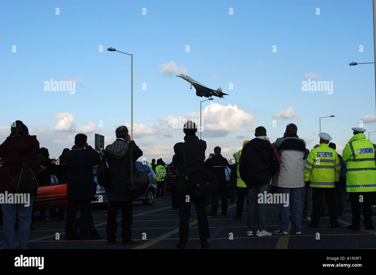 Concorde final commercial flight arriving at Heathrow airport Stock Photo