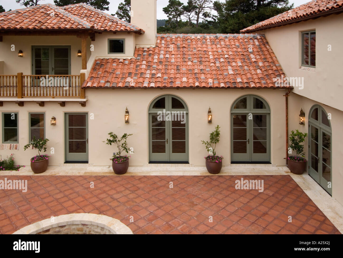 Exterior of a spanish style luxury home with stucco walls Spanish style modular homes