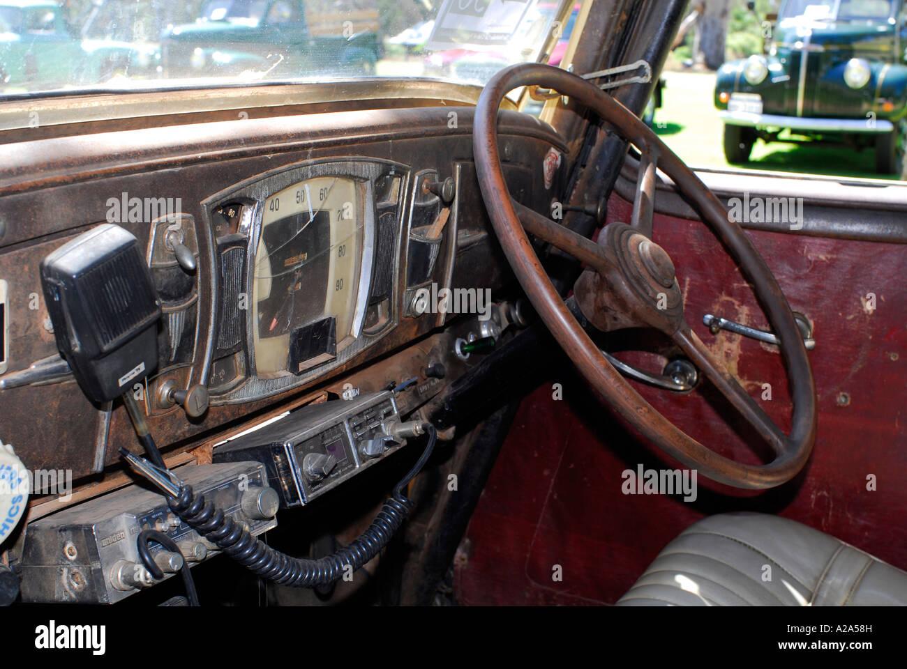 interior of 1934 studebaker car stock photo royalty free image 10457200 alamy. Black Bedroom Furniture Sets. Home Design Ideas