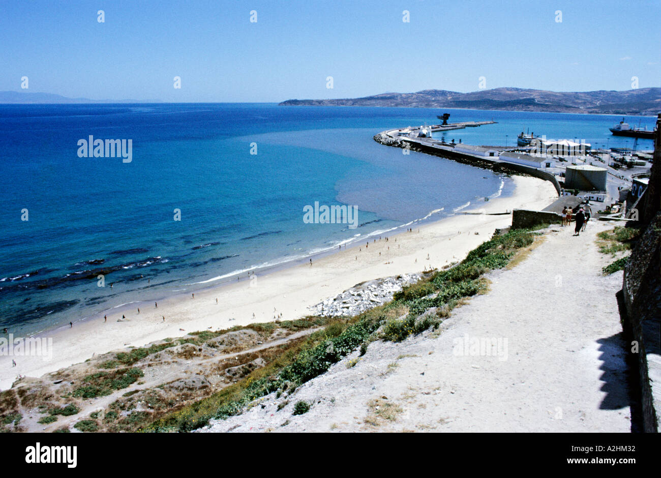 Africa morocco tangier view of port ferry station and - Moroccan port on the strait of gibraltar ...
