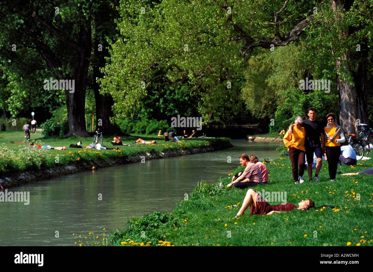 Germany Bavaria Munich The Eisbach Or Ice Stream In The