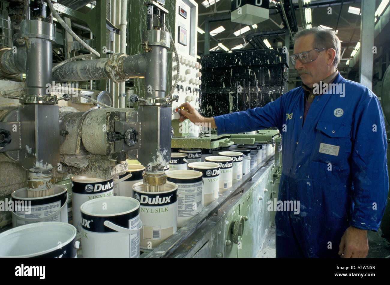 Worker At Ici Dulux Paint Factory Slough Uk Operates A