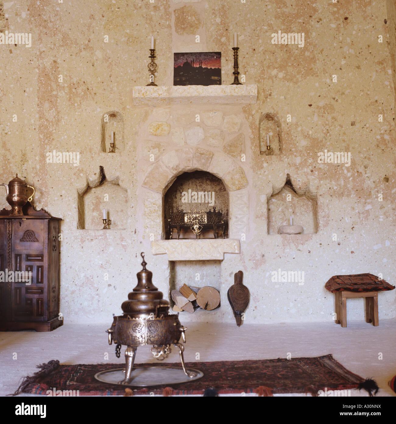 Turkish Living Room Interior With Samovar And Stone Alcove
