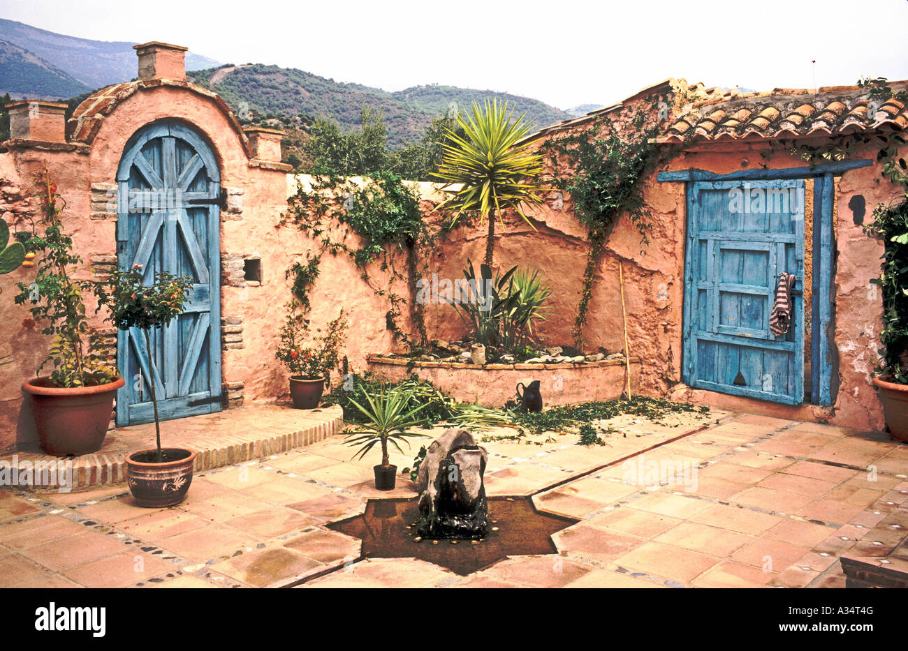 corner of a spanish patio or courtyard garden at the finca el stock photo royalty free image. Black Bedroom Furniture Sets. Home Design Ideas
