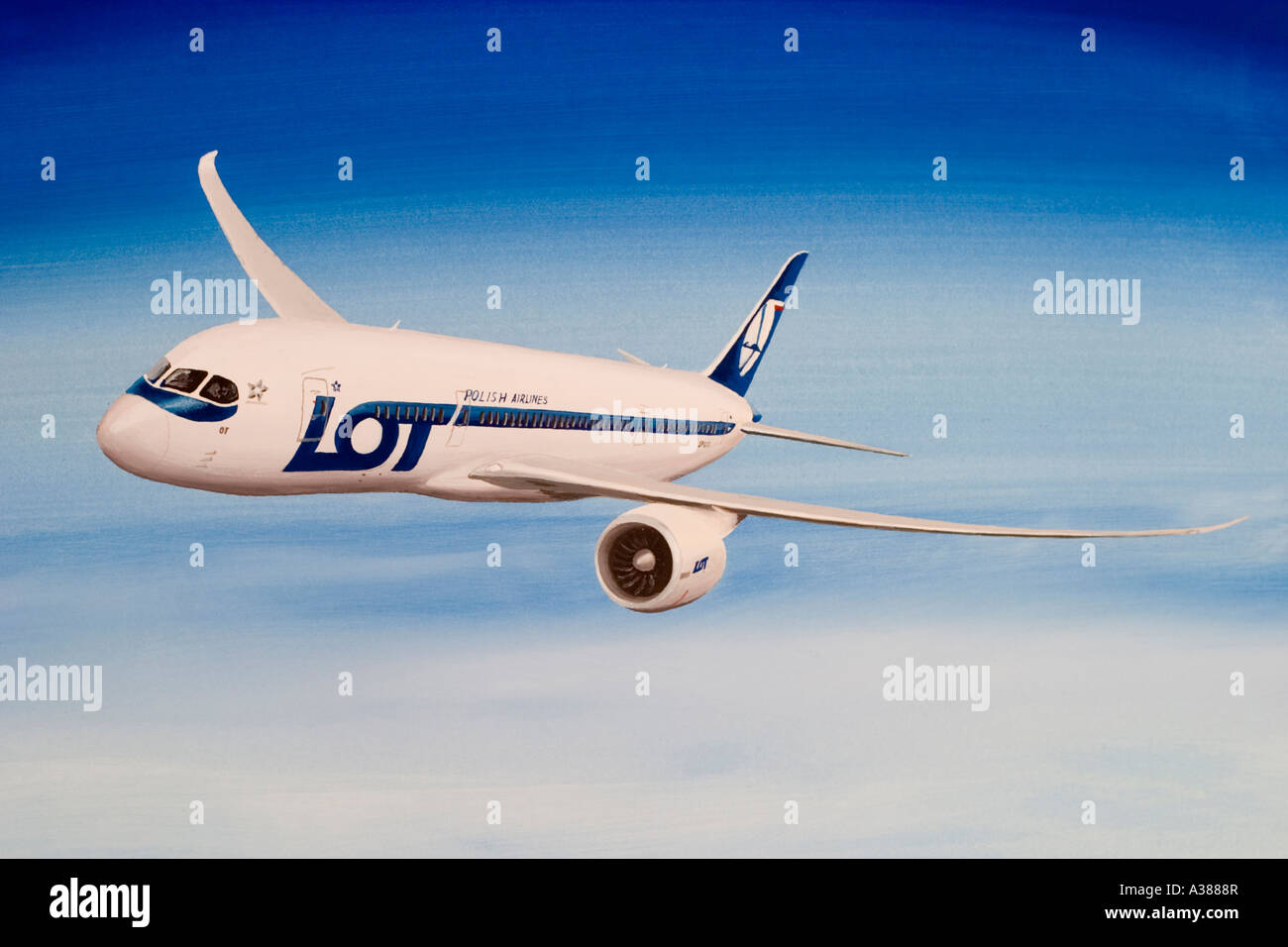 Boeing 787 Dreamliner in LOT Polish Airlines livery. Stock Photo