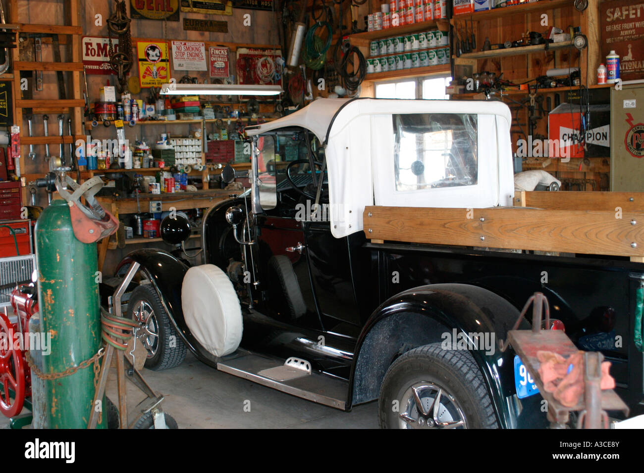 Repair Shop For Old Time Truck In Service Bay At Farm