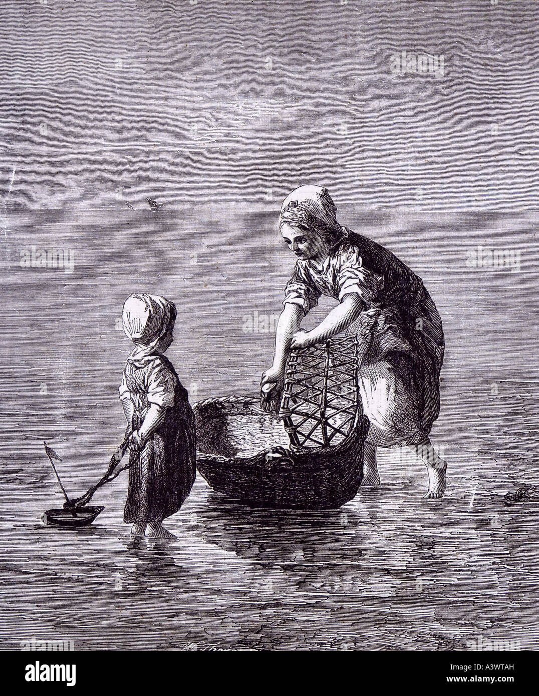 dutch artist art child sister sea boat moses basket baby bed cot crib babyhood Stock Foto