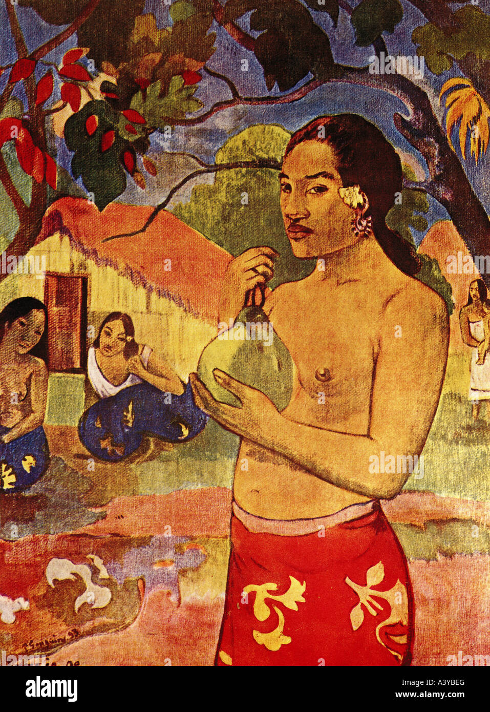 """fine arts, Gauguin, Paul, (1848 - 1903), painting, ""Tahiti woman with fruit"", 1893, oil on canvas, Puschkin museum, Stock Photo"