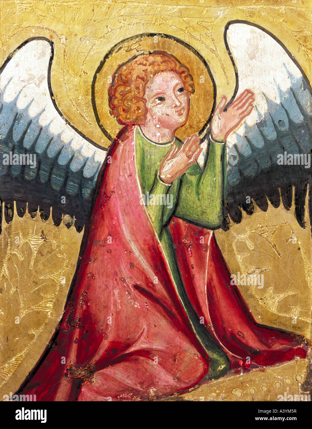 """fine arts, religious art, angels, ""praying angel"", painting, Germany, circa 1330, oil on panel, Bavarian National Stock Photo"